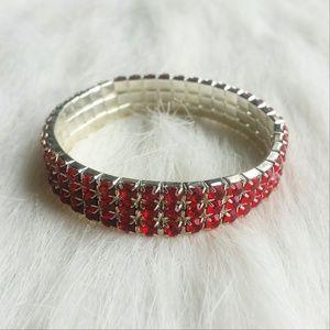 Red Rhinestone Stretch Bracelet